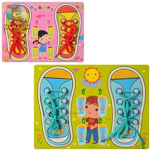 Деревянная игрушка Шнуровка обувь