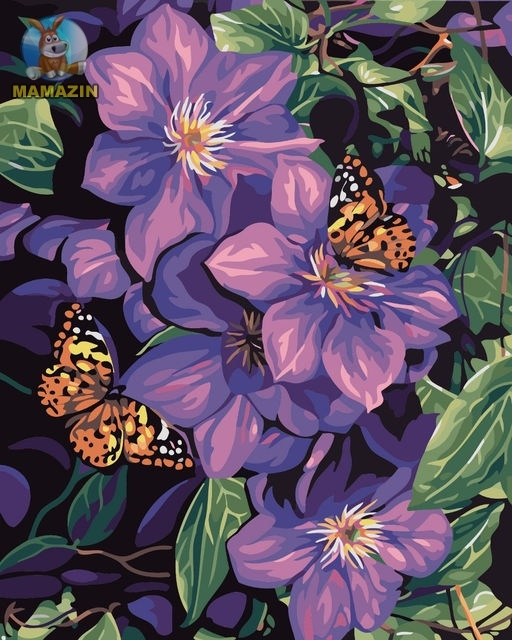 "Картина по номерам ""Бабочки на цветах"" (без коробки)"