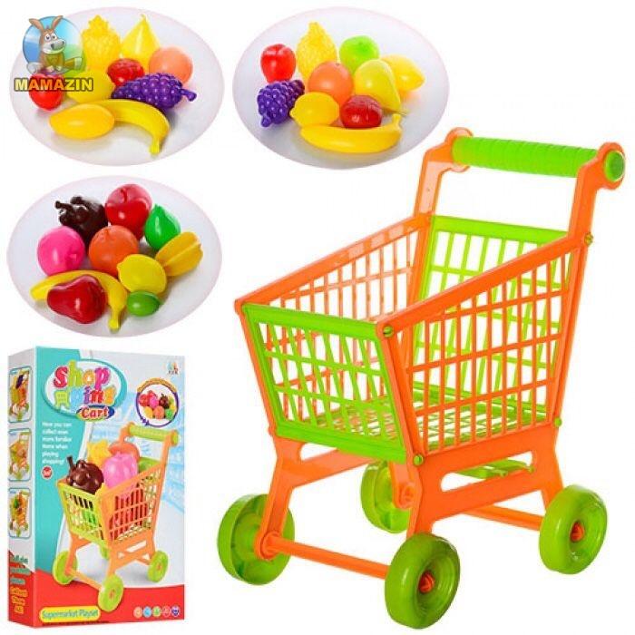Тележка игрушечная супермаркет + продукты