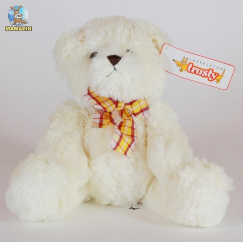 Мягкая игрушка медведь, белый с бантом