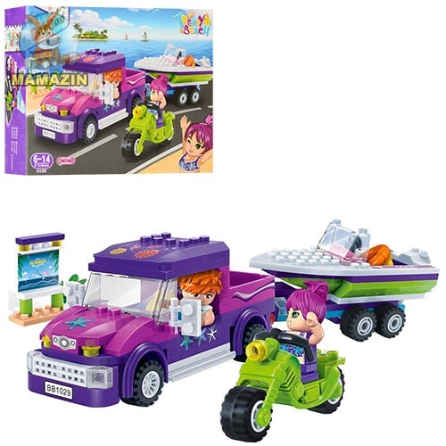 Конструктор для девочек - машина с прицепом, катер, мотоцикл