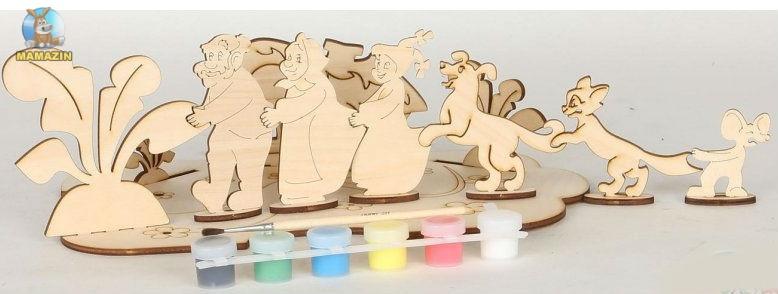 Сборная деревянная модель Репка + краски