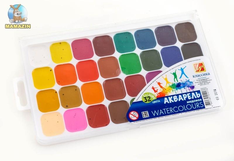 """Акварель медовая """"Классика"""" 32 цвета"""