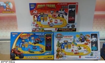 """Паркинг """"PAW PATROL""""/""""Robot Trains""""/""""Вспыш"""" с машинками"""