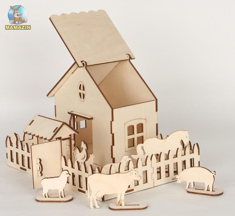 Сборная деревянная модель ферма + краски
