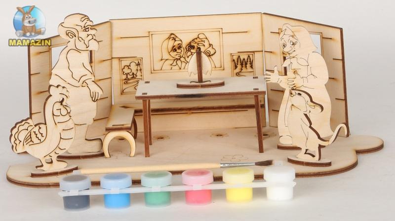 Сборная деревянная модель курочка ряба + краски