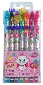 """Ручки в наборе гелевые с блестками """"Мерри Кет"""", 7 шт./наб."""