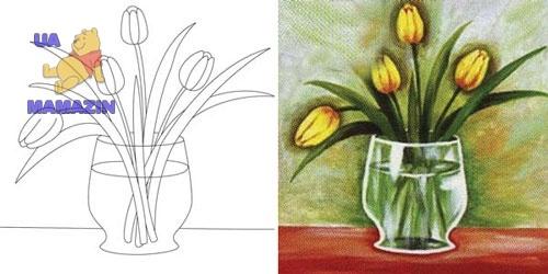 """Холст с контуром """"Желтые тюльпаны"""""""