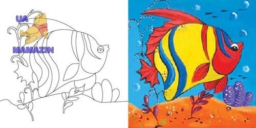 """Холст с контуром """"Рыбка"""" с красками"""