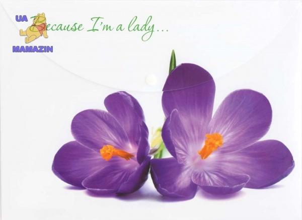 """Конверт на кнопке А4 """"Because I am а lady"""" (Крокус)"""