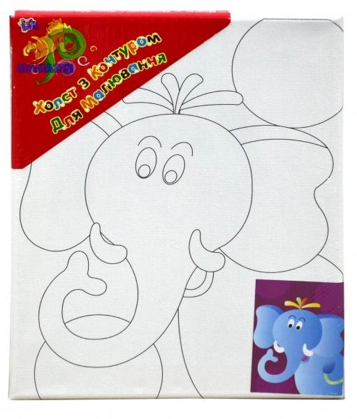 """Холст с контуром """"Слон"""" с красками"""