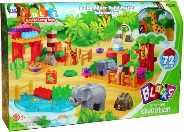 Конструктор зоопарк 72 детали