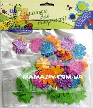 """Стикеры для творчества """"Цветы"""", в уп. 55 шт ТМ 1Вересня"""