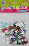"""Наклейки для творчества """"Звездочки и камешки"""" пластиковые , цветные, в уп.150шт."""