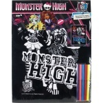 Раскраска с бархатом А3 + 5 фломастеров Kite Monster High