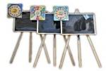 Доска-мольберт 1-сторонняя с часами на триноге ольха