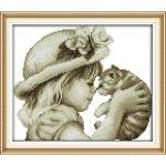ИДЕЙКА вышивка Девочка и кот