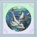 Вышивка крестиком Дельфины