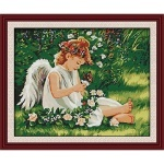 ИДЕЙКА вышивка Ангелочек в цветах