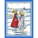 Вышивка крестиком Дети на море 3