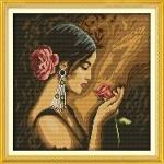 Вышивка крестиком Девушка с розой