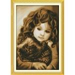 ИДЕЙКА вышивка Девочка с котом