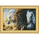 Вышивка крестиком Непокорные кони