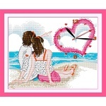 Вышивка крестиком Часы. Любовь у моря
