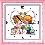 Вышивка крестиком Часы. Детские сердца