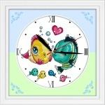 ИДЕЙКА вышивка. Часы. Поцелуй рыбок