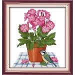 Вышивка крестиком Цветы и птичка