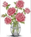 Набор для вышивания крестом Розы в вазе