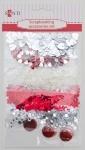 Набор декоративных украшений для скрапбукинга, бело-красный