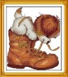 """Набор для вышивки крестом """" Пёсик в ботинке"""""""