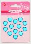 Набор страз самоклеющихся сердечки голубые, 13 шт