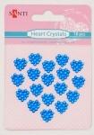 Набор кристалов самоклеющихся сердечки синие, 18 шт