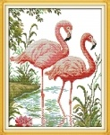 Вышивка крестом Фламинго