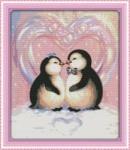 Вышивка крестом Любовь пингвинов