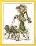 Вышивка крестиком Дама с собачками