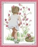 Вышивка крестиком Собирая цветы