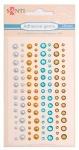 Набор страз и жемчужин клеевых «Голубой-коричневый», 120 шт