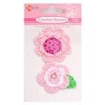 Набор брадсов цветы вязаные розовые, 2 шт