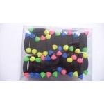 Резинка тонкая, чёрная, с цветными шариками, в уп. 24 шт.