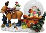 """Сувенир водный шар """"Дед Мороз с оленем"""""""