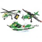 Конструктор AUSINI 3в1 вертолет, катер, самолет, 300 деталей