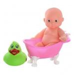 Пупс мальчик 12 см, с ванночкой