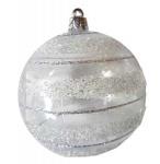 Шар d-8 см 2шт/уп прозрачный с серебряным глиттером