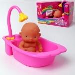 Пупс в ванночке, с полотенцем