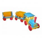 Поезд-конструктор 2 прицепа голубой