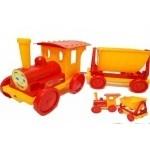 Поезд- конструктор, красный